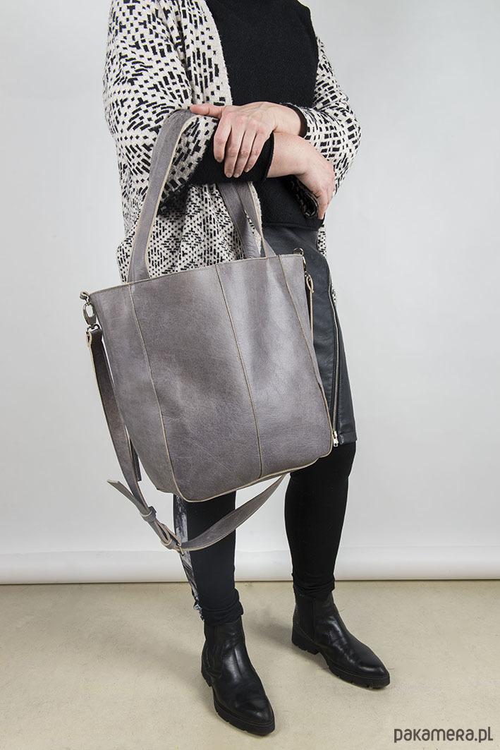 Duża szara skórzana torba