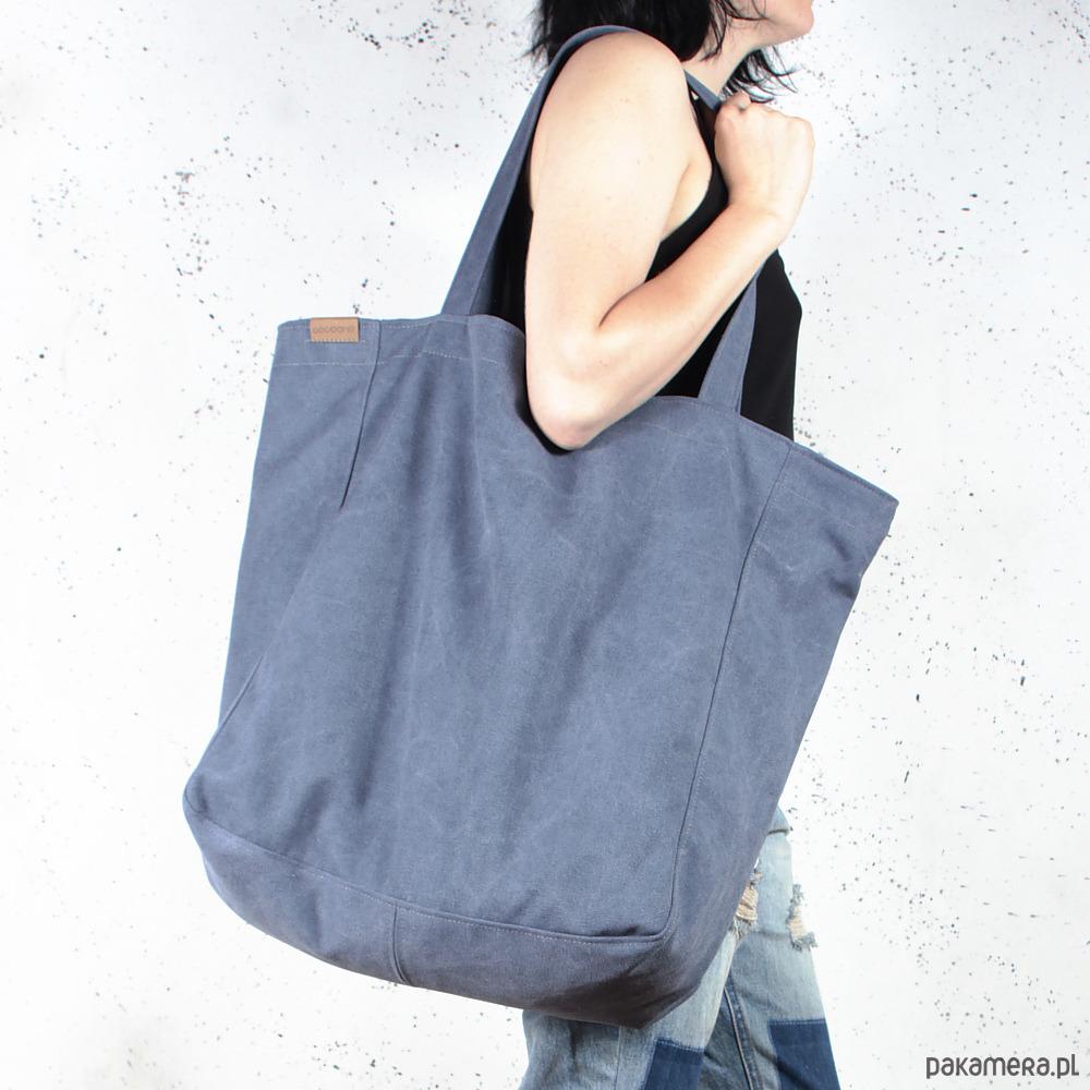 Big Lazy bag torba czarna na zamek vegan eco torby XXL
