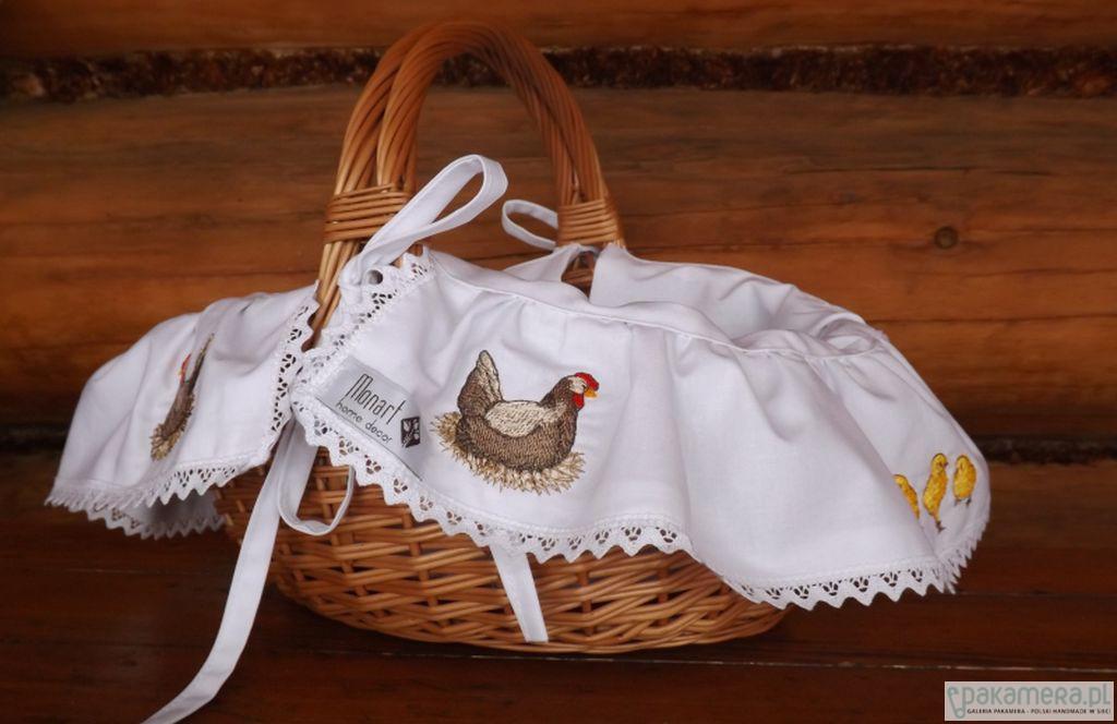 Koszyk Wielkanocny Kura haftowany z serwetką - 2042615