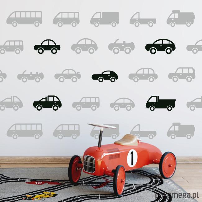 Naklejki Auta Samochody Pojazdy Komplet 20szt Dziecko Tapety I