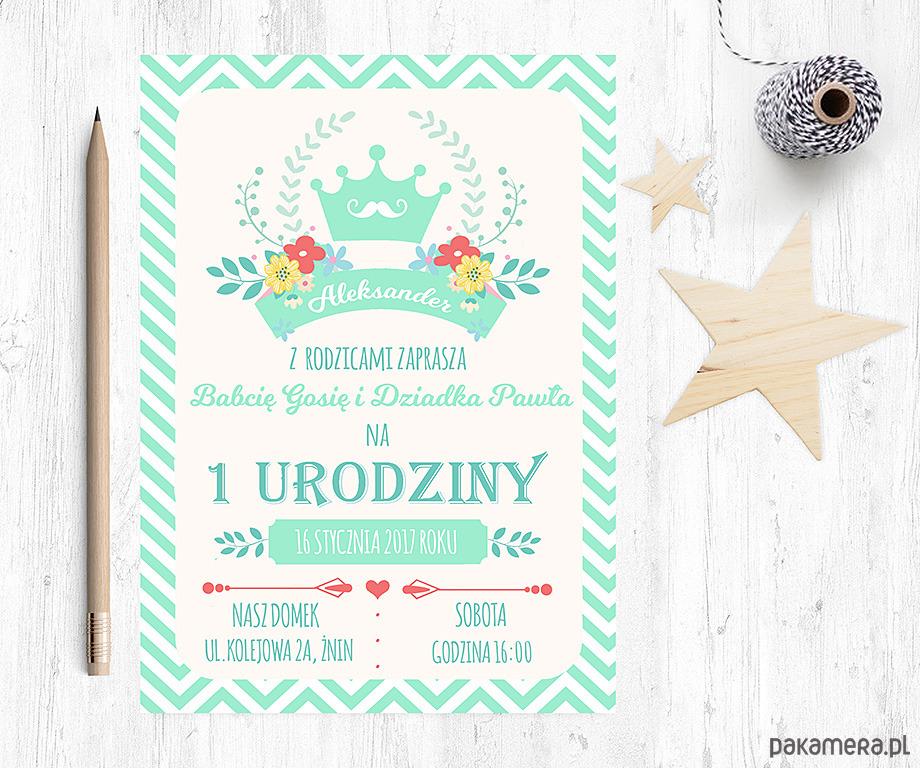 Zaproszenie Na Urodziny Miętowy Książę Dziecko Kinderbal