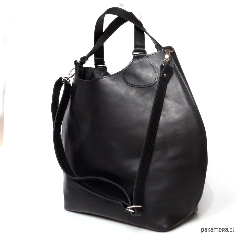 cf985404aef26 Czarna duża skórzana torba - torby na ramię - damskie - Pakamera.pl