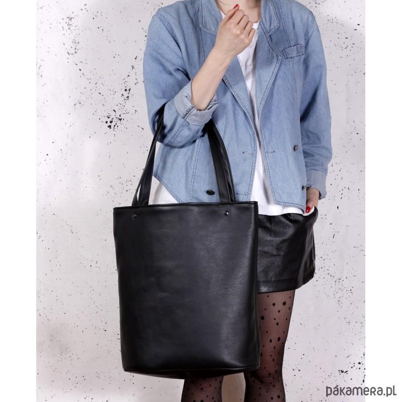 73840cc9ade89 Shopper XL torba czarna na zamek - torby na ramię - damskie ...