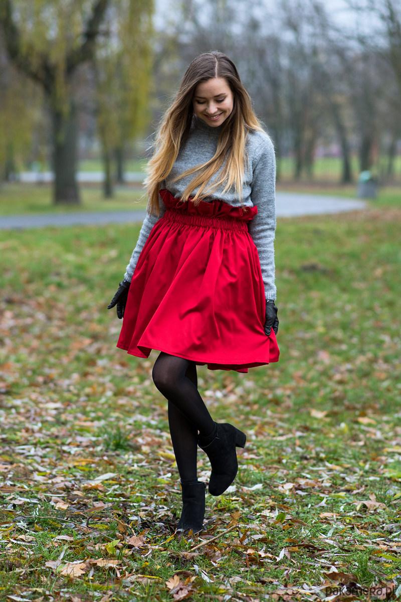 Spódnica z falbanką czerwona