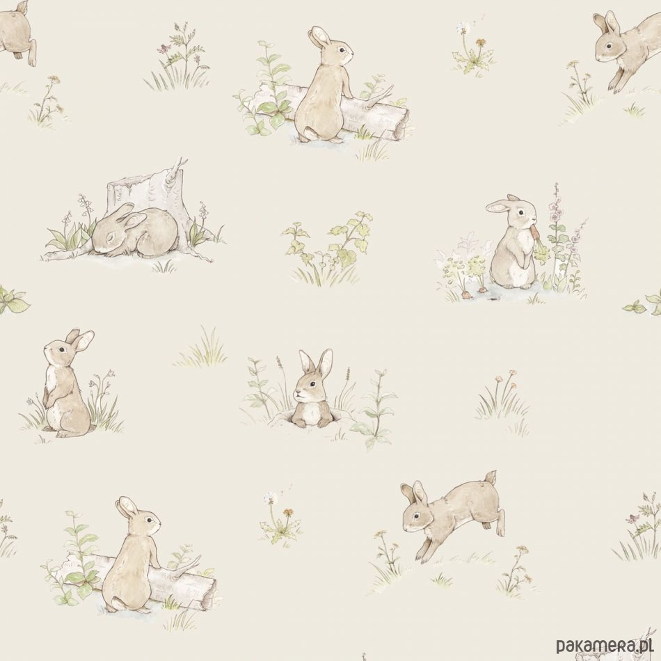 Tapeta Rabbit Day Beige - Pakamera pl