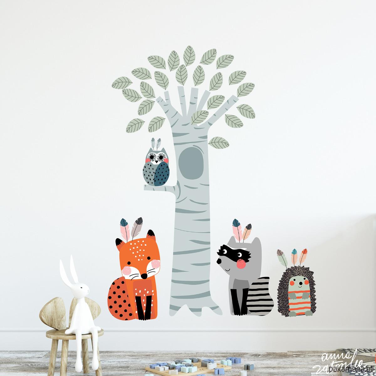 Drzewo I Zwierzęta Las Liście I Zabawa Pokój Dziecka Naklejki