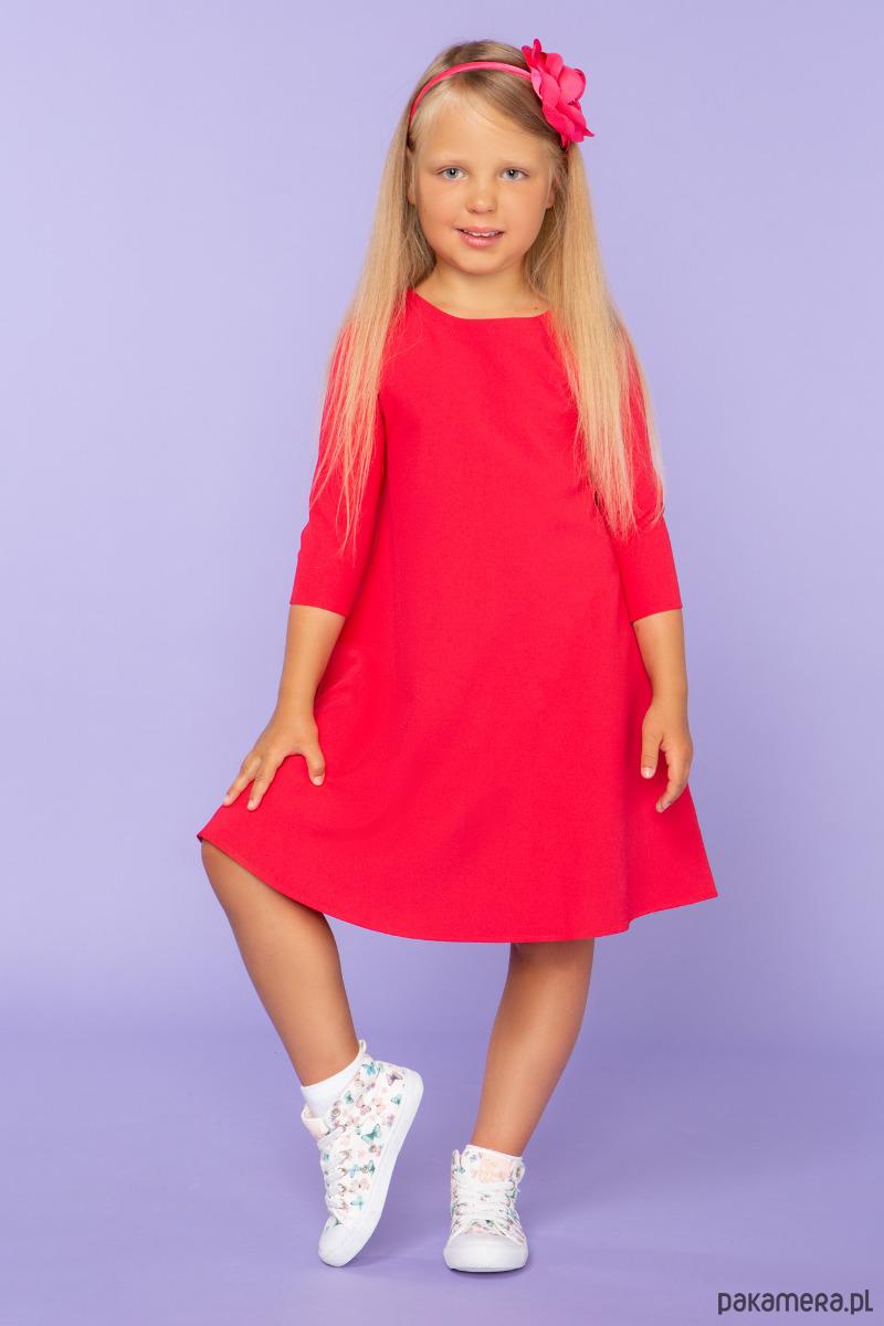 Sukienka trapezowa, model 24, czerwony