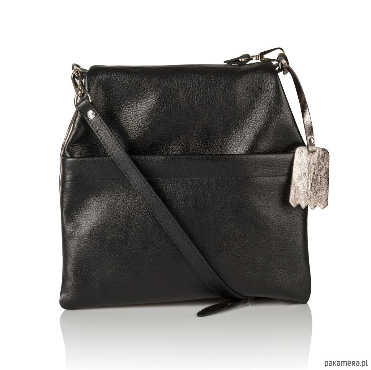 6b07cc4e131fd torby na ramię - damskie-Skórzana dwustronna torebka listonoszka czarna