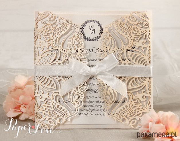 Zaproszenia ślubne Koronki Kwiatowe ślub Zaproszenia Kartki