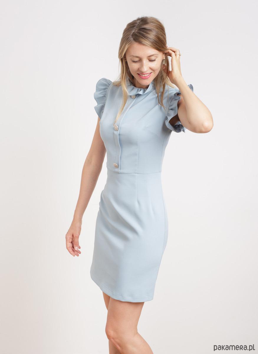 Sukienka z żabotem i guzikami