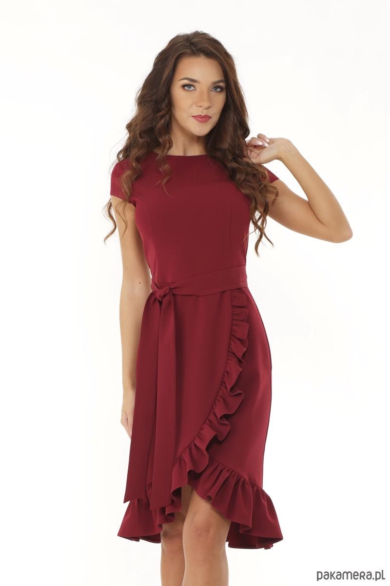 Elegancka sukienka falbaną bordowa