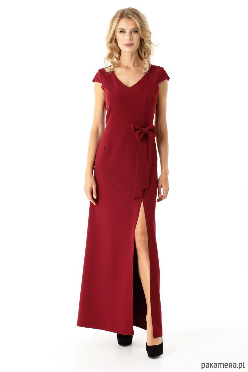 1290e82deb Długa Prosta Sukienka Hellen Bordowa Sukienki Maxi Pakamerapl