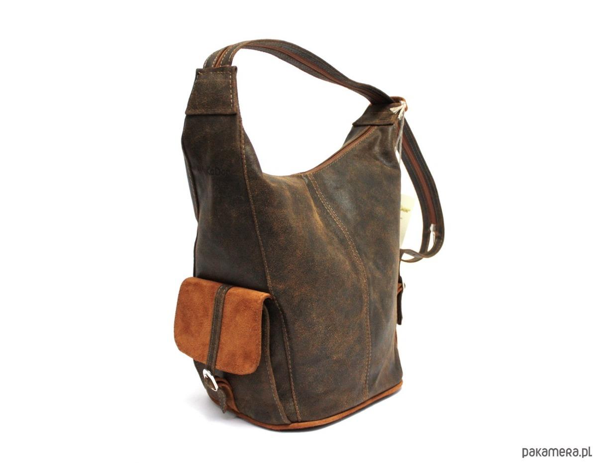 2a4f14c100c05 torby na ramię - damskie-Torebka skórzana   plecak WuKaDor 102 brąz rudy