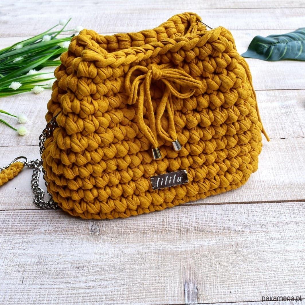 cbc72395781bb szydełkowa torebka worek- kolor musztardowy - torby na ramię - damskie -  Pakamera.pl