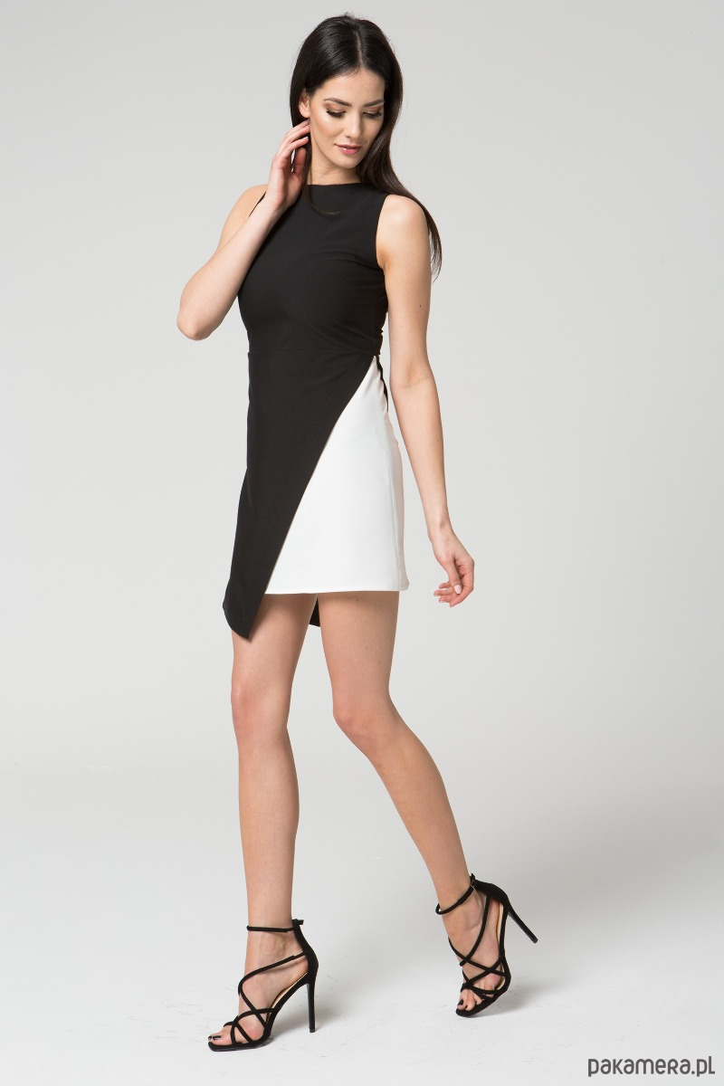 Sukienka dwukolorowa M033 Czarno - Biała