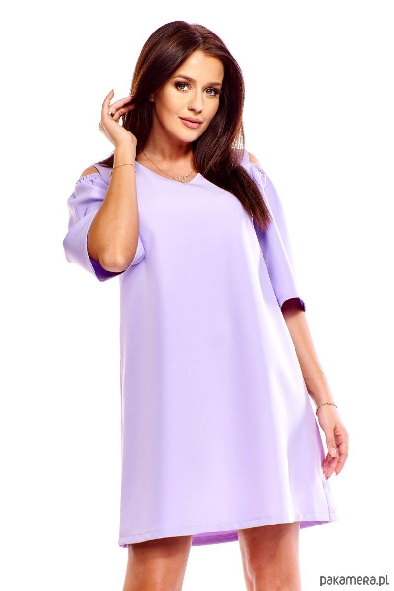 7efe377032a765 Sukienka trapezowa Juliet liliowa - sukienki - mini - Pakamera.pl