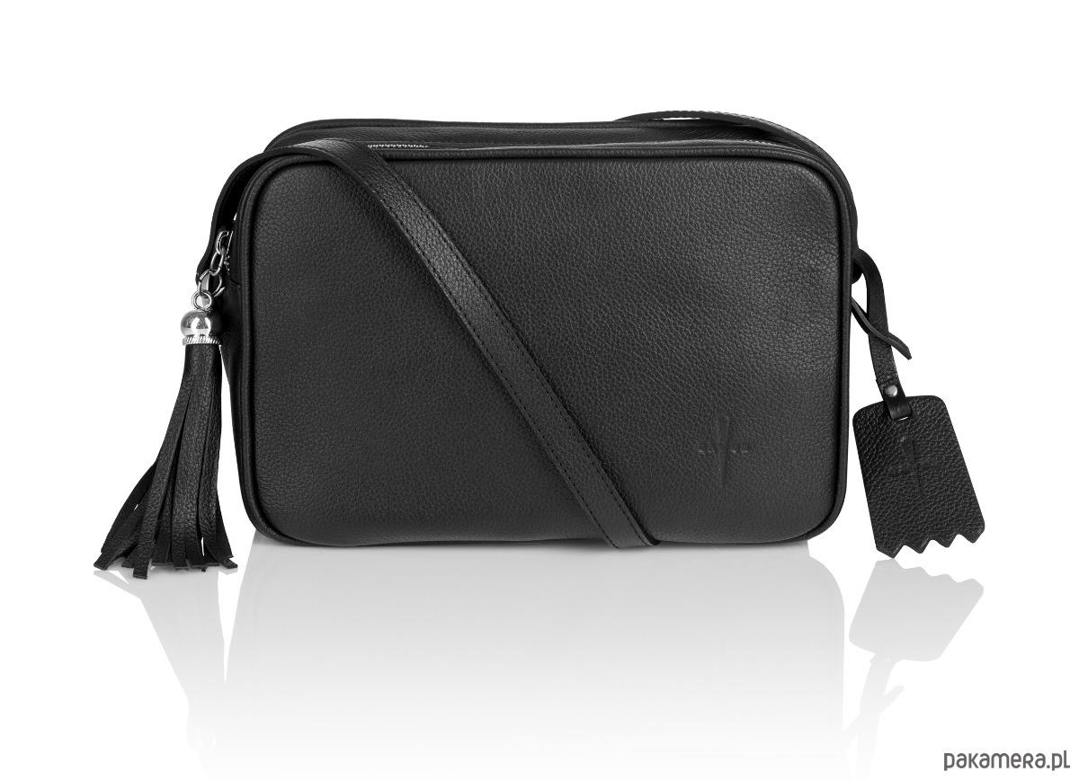 0f207f9cc5670 Skórzana torebka listonoszka czarna Hannah G-211 - torebki mini ...