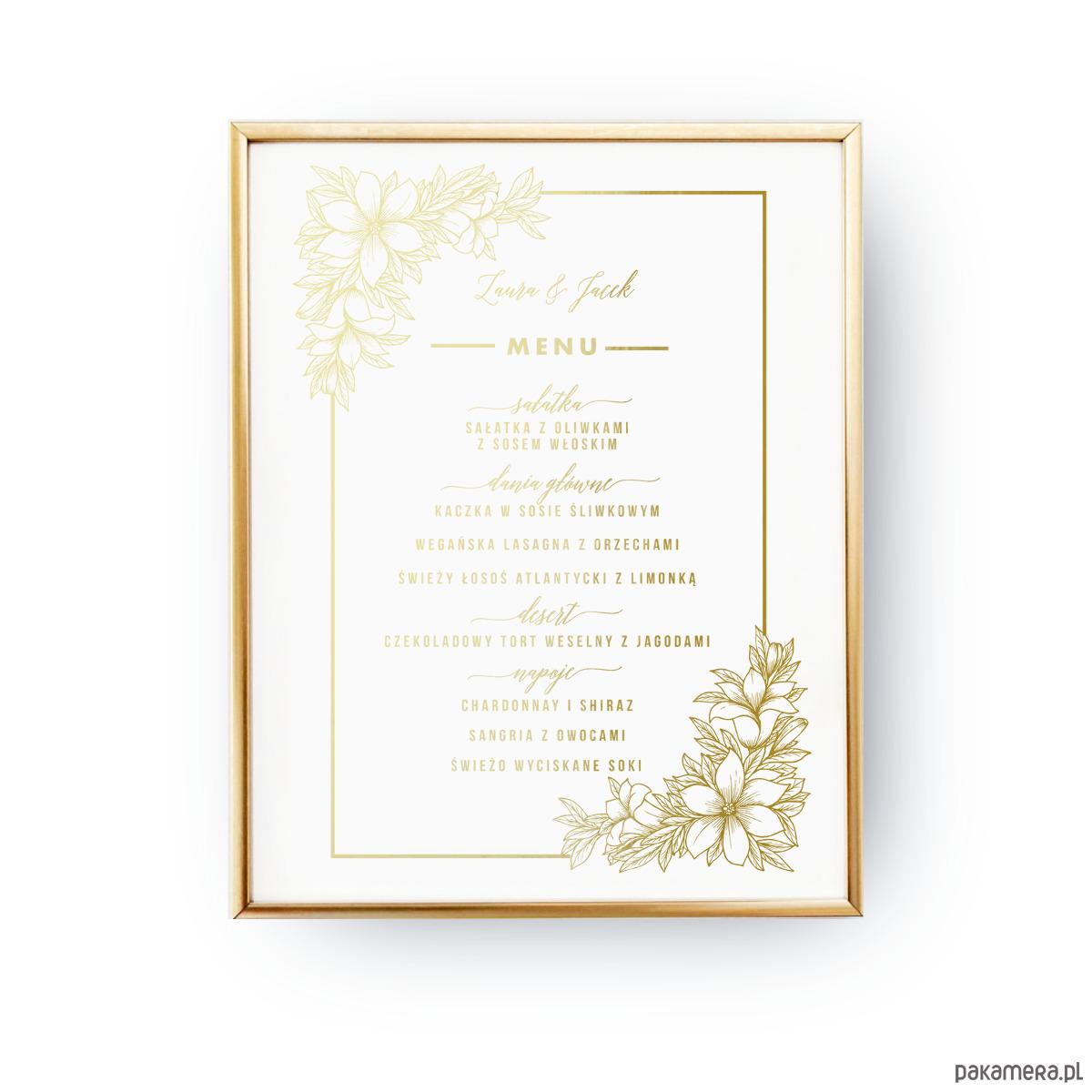 Menu Kwiaty Plakat Złoty Druk Pakamerapl