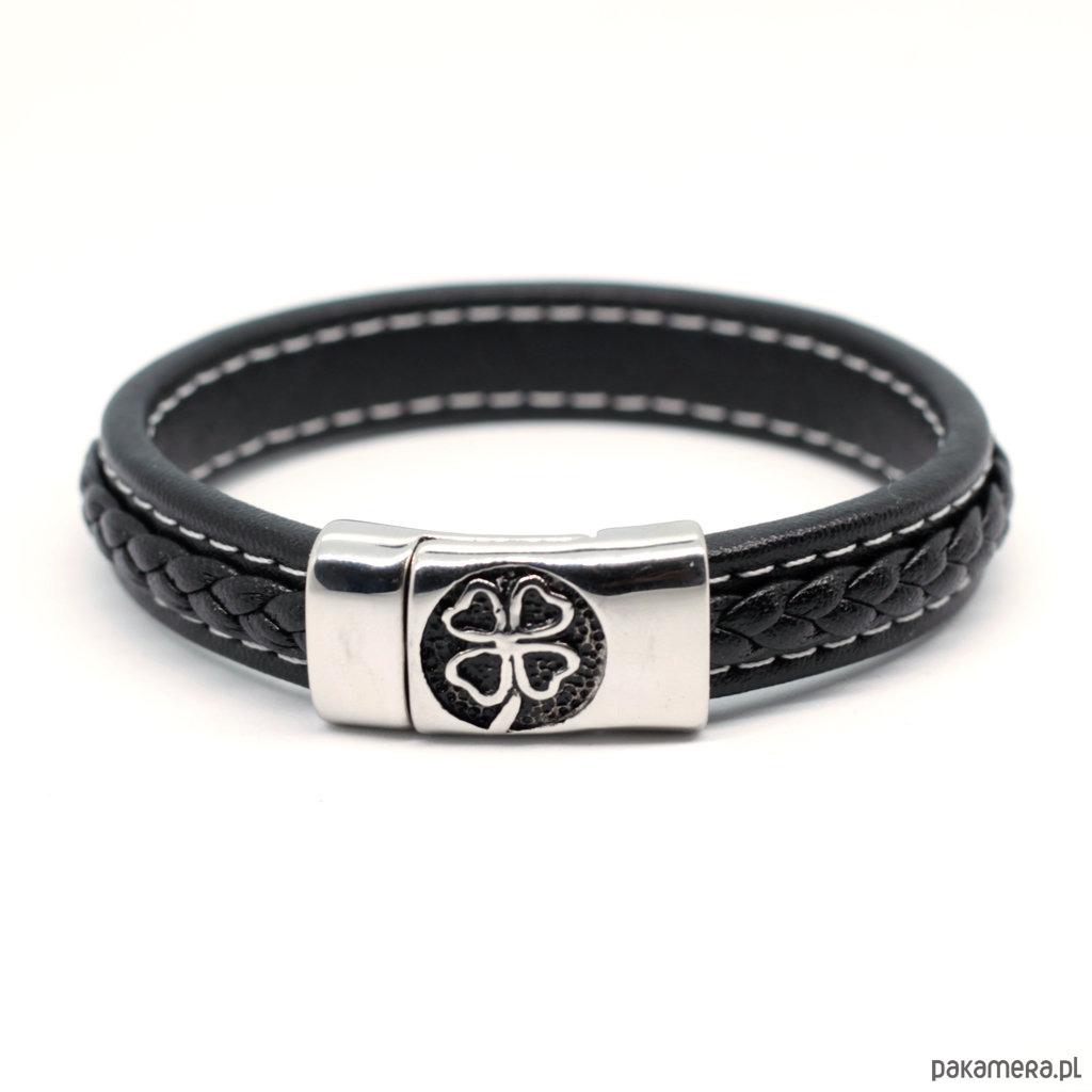Bransoleta męska czarna z koniczynką - akcesoria - biżuteria HNkEzl6P