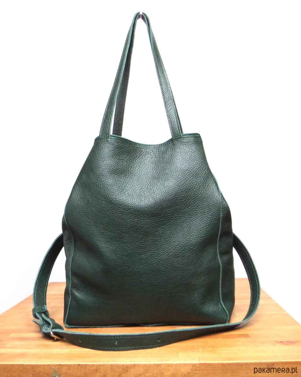 7b7ded6180795 Malachitowa - duża zielona skórzana torba - torby na ramię - damskie -  Pakamera.pl