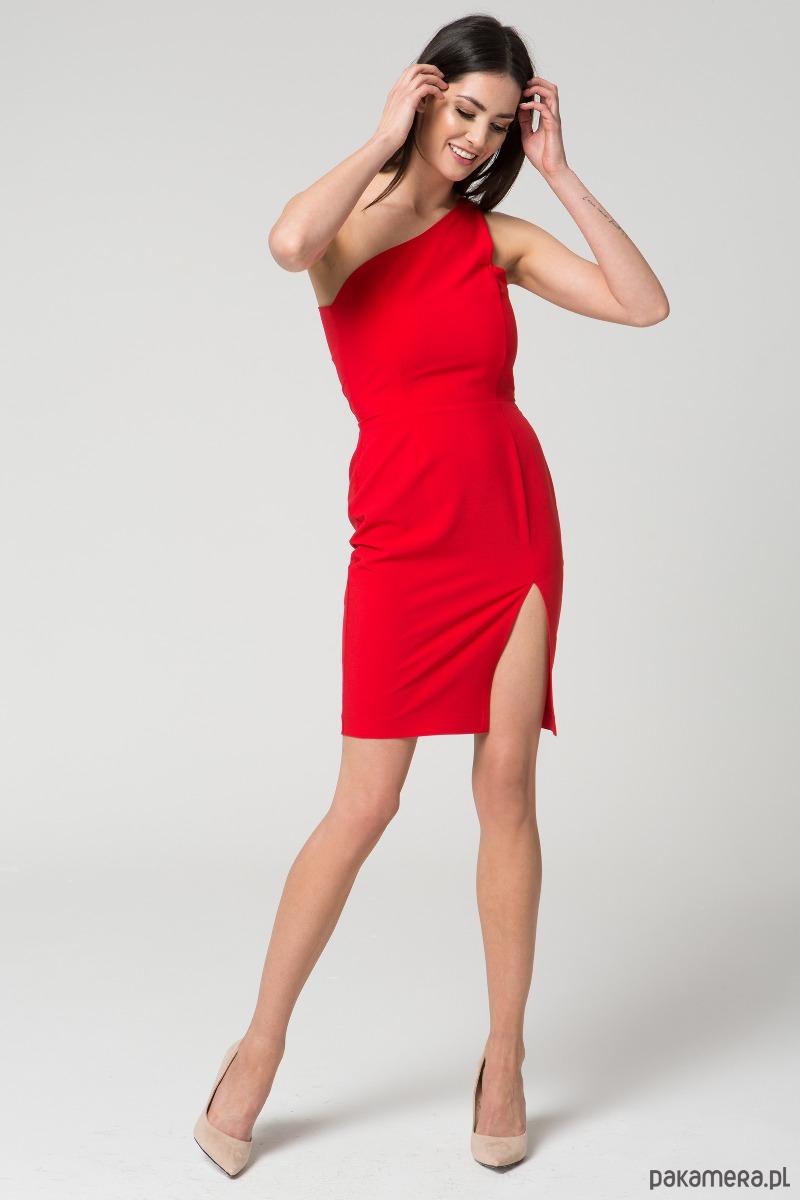 Sukienka na jedno ramię M035 Czerwona