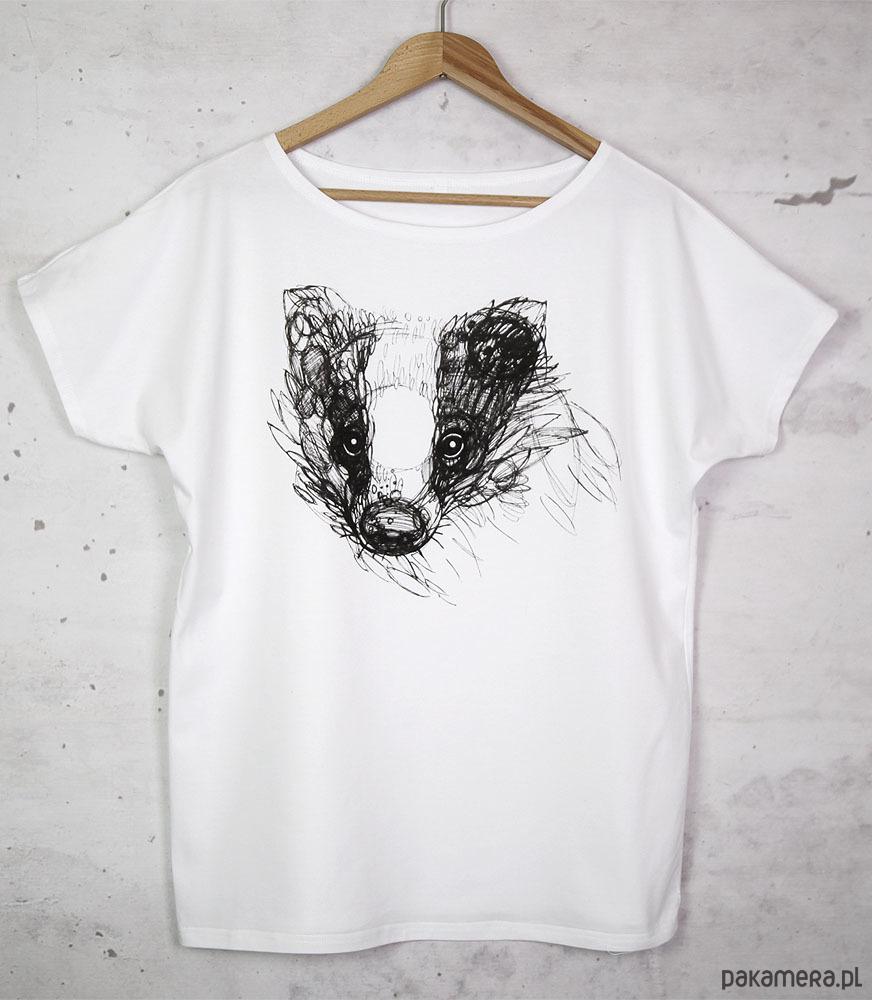 BORSUK koszulka bawełniana biała z nadrukiem