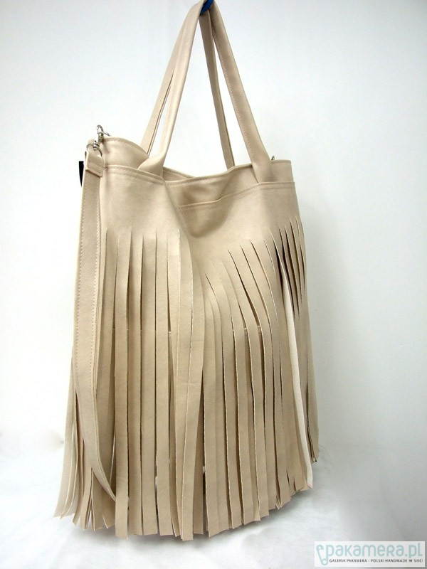 479e95ffbfa36 Hobo z frędzlami beżowa - torby na ramię - damskie - Pakamera.pl