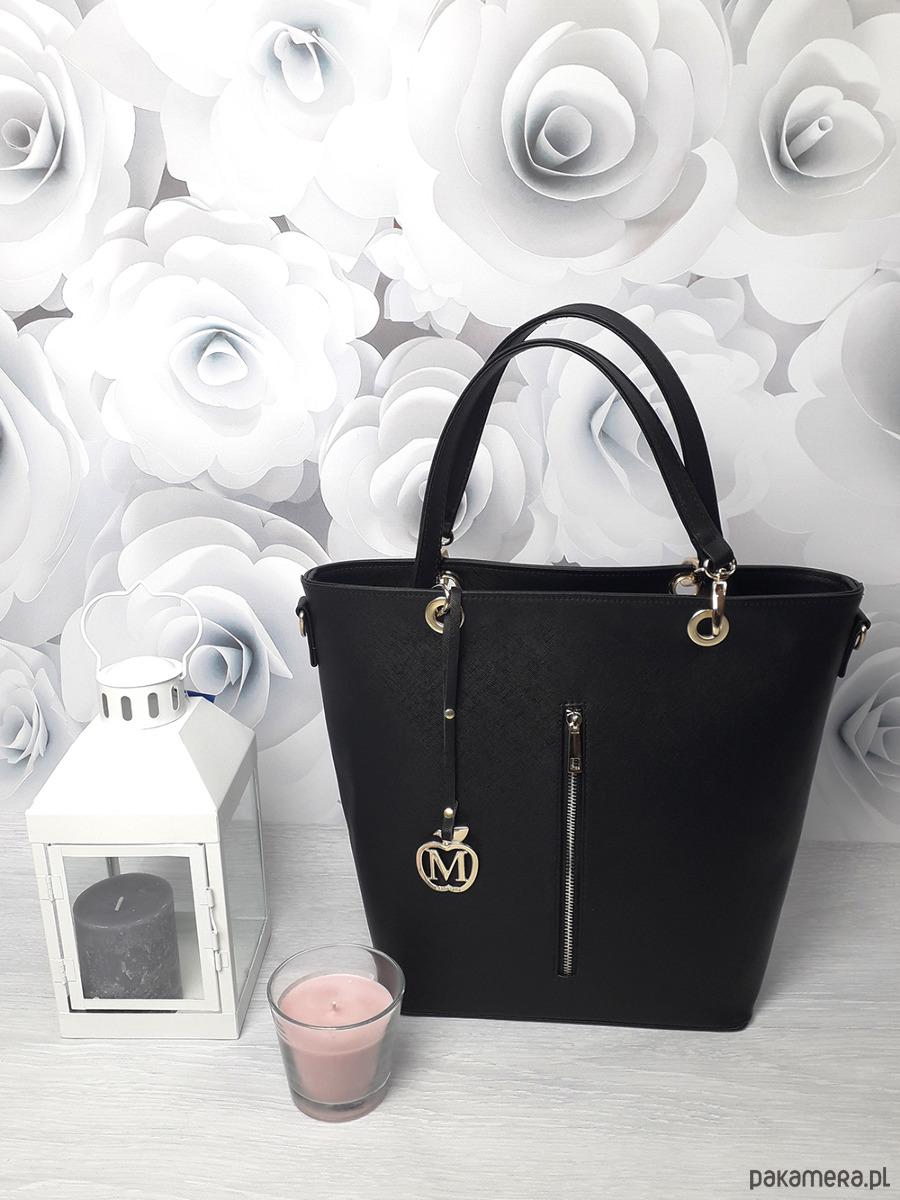 dd702a46f2efc torby na ramię - damskie-Duża torebka kuferek MANZANA hot czarny połysk