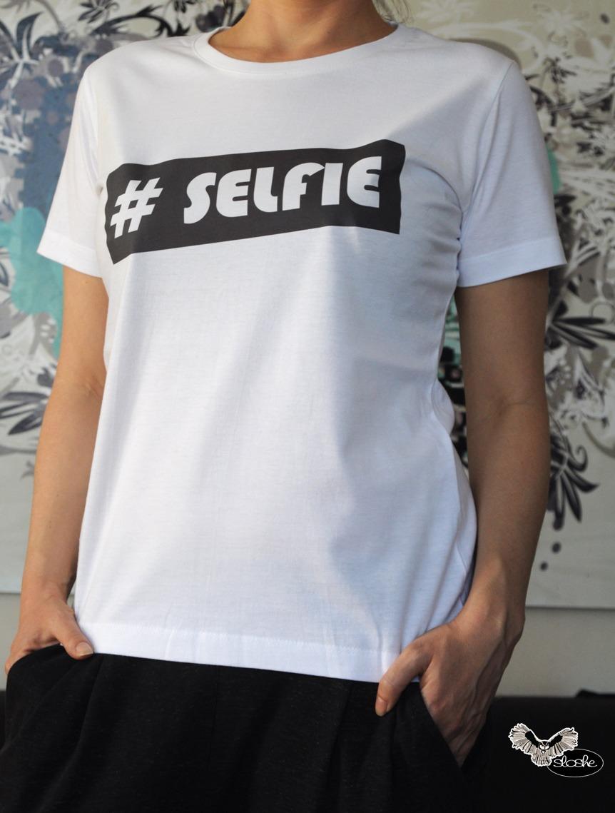 #SELFIE, biały bawełniany t-shirt