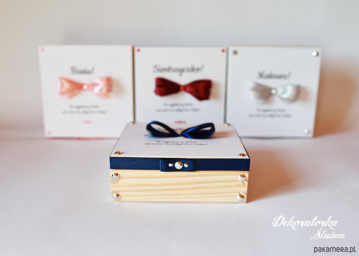 Nowość Drewniany kuferek z prośbą dla świadków - Ślub - zaproszenia TF62