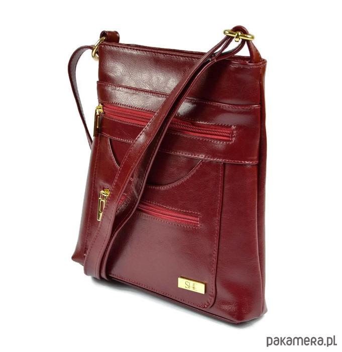 cad1a6f21e8ba Bordowa skórzana torebka na ramię SHE - torby na ramię - damskie -  Pakamera.pl