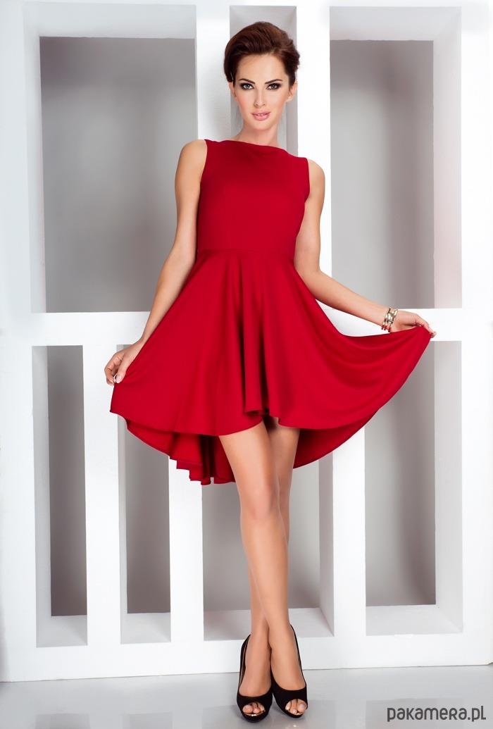 Sukienka ASYMETRYCZNA CIENKA czerwona sukienki mini