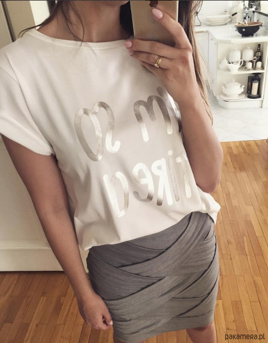 damska koszulka I am so tired (biała)