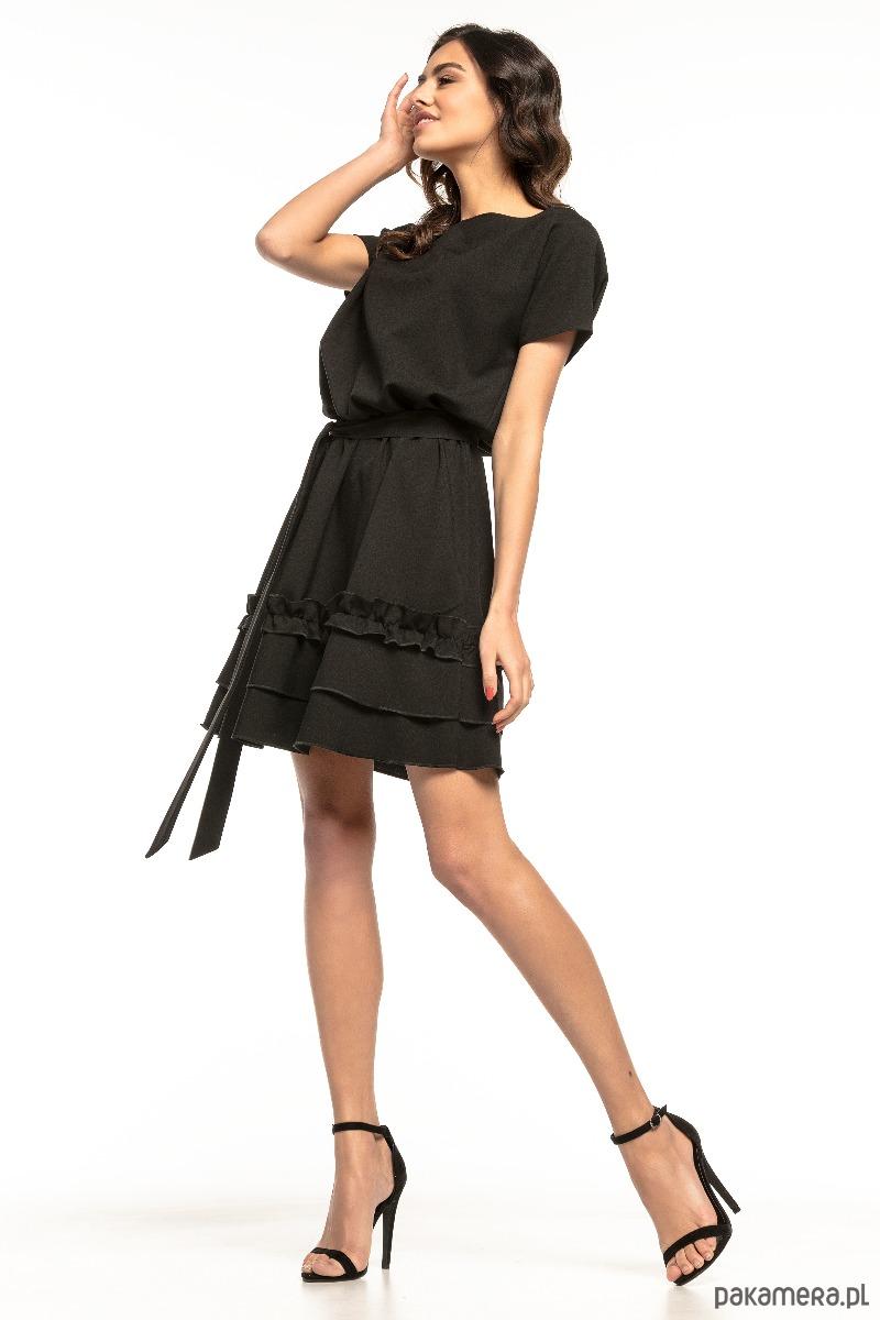 fe1e87fc1 Sukienka z falbanką na spódnicy, T267, czarny - sukienki - mini ...