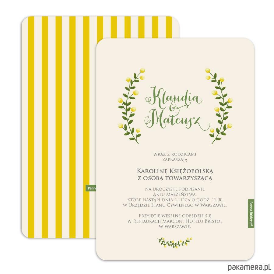 Zaproszenie ślubne Kolekcja Cytrynowy Gaj ślub Zaproszenia