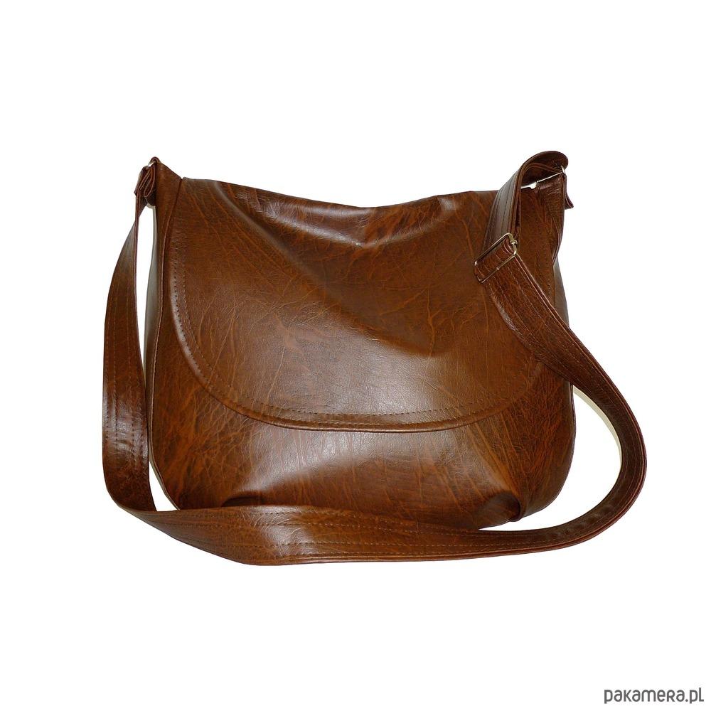 brązowa listonoszka damska, brązowa torba a4
