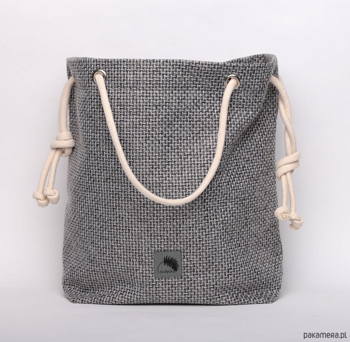 51efcc0e155b6 Szara torba z grubo plecionej tkaniny - torby na ramię - damskie ...