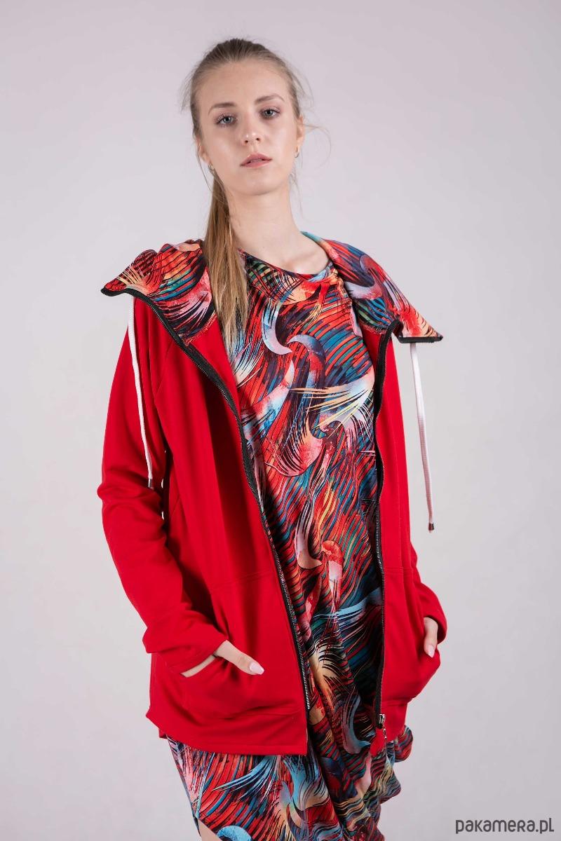 Bluza damska na zamek Summer-Me-Czerwona+wzór
