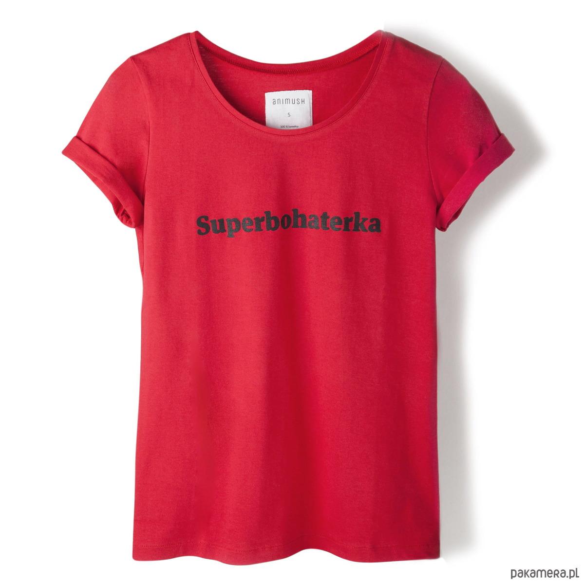 T-shirt czerwony Superbohaterka