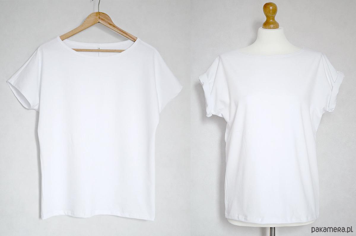 Gładka koszulka bawełniana oversize biała