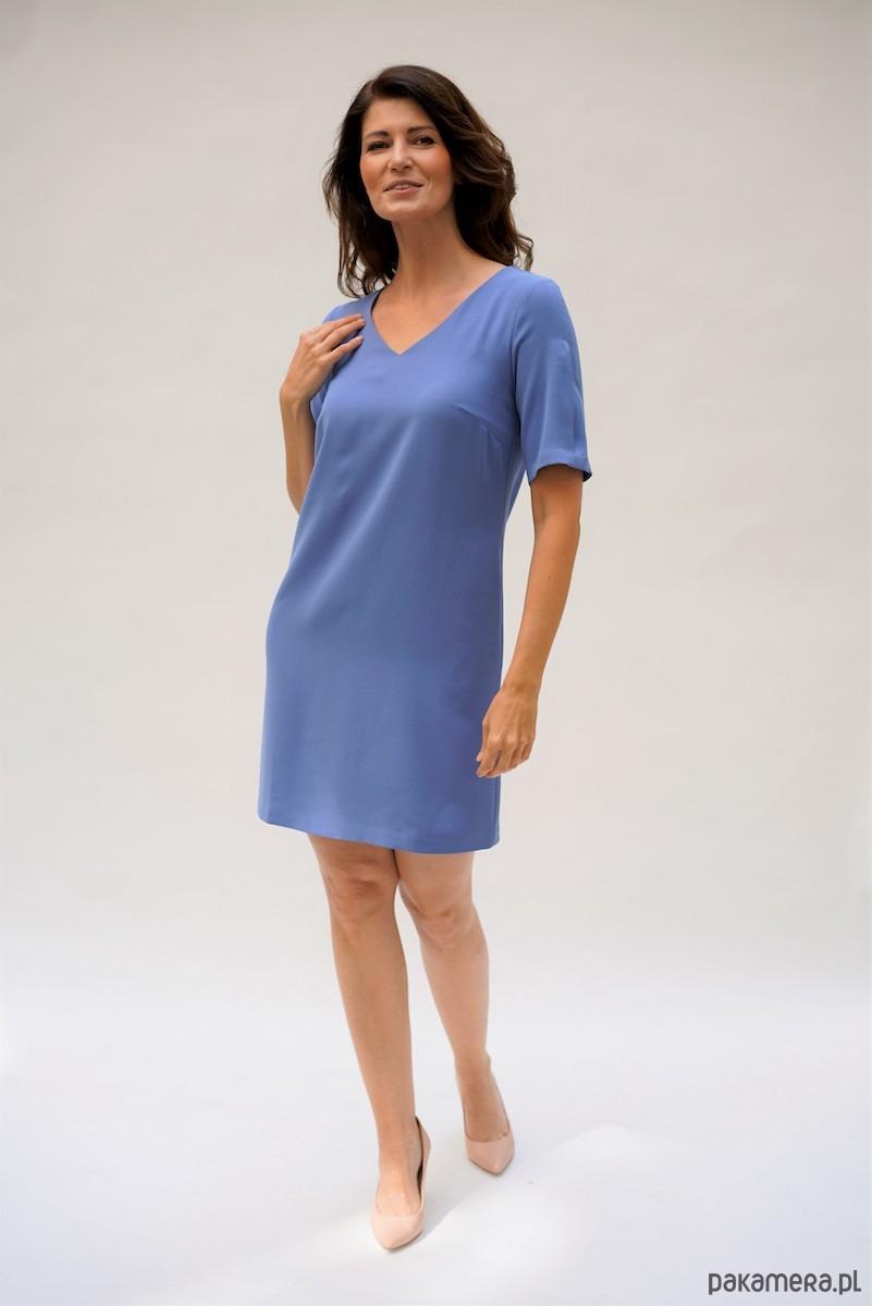 Sukienka Trapezowa Valencia błękitna