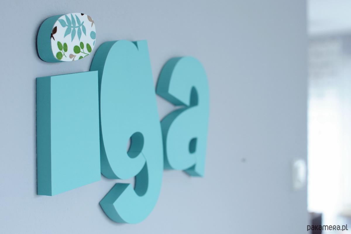 W superbly Napis 3D na ścianę - LITERKI 10 cm - 15 cm - pokój dziecka BW05
