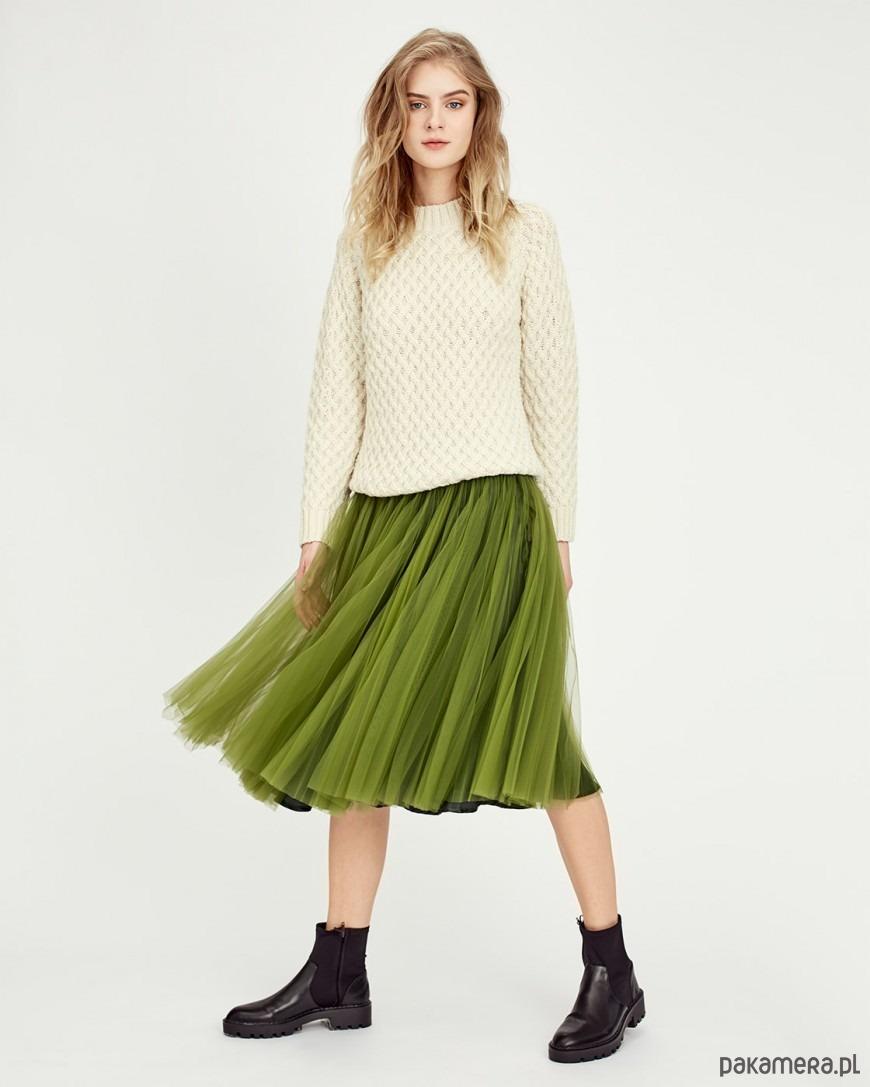 Amsterdam Green Pleated Tulle Skirt