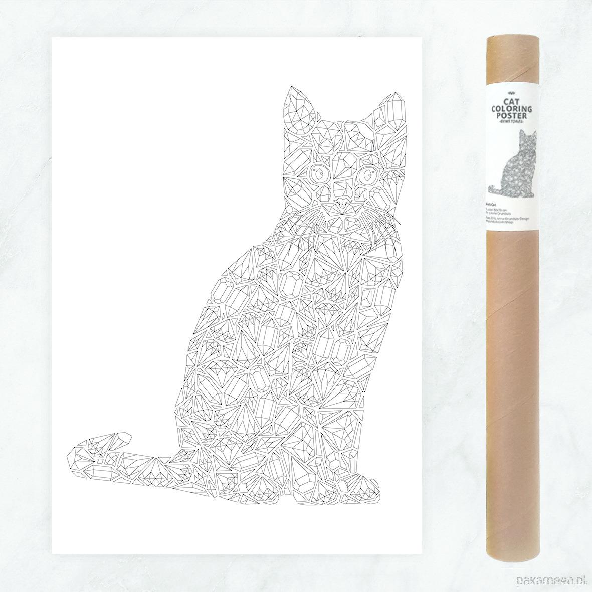 Kot Diamenty Plakat Do Kolorowania 50x70cm Pakamerapl