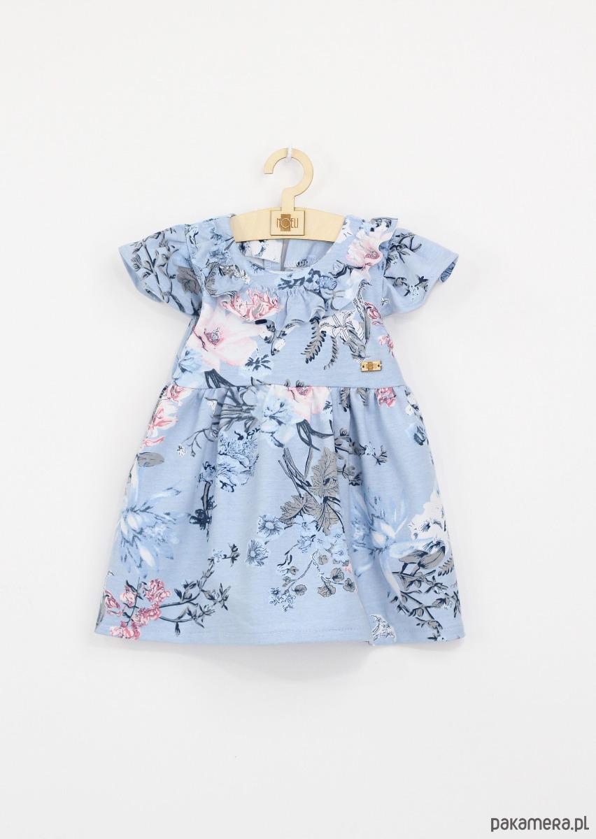 0218d065d5 Sukienka blekitna w kwiaty z falbana - dziewczynka - sukienki ...