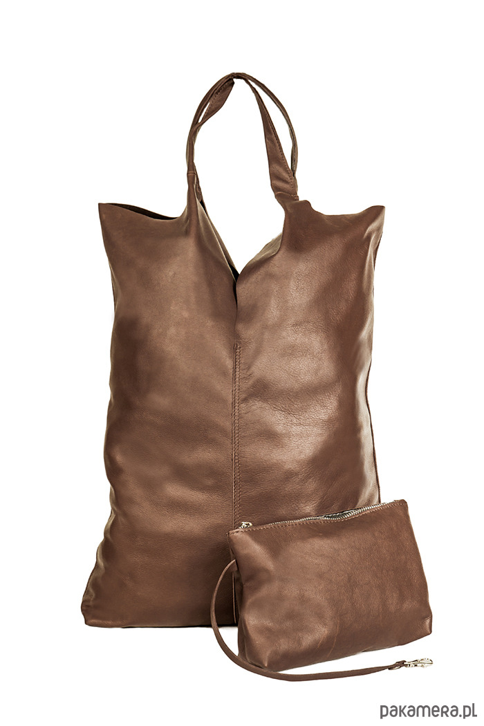 8008f1d991af7 torby na ramię - damskie-Torba skórzana z kosmetyczką CHOCOLATE LOOK