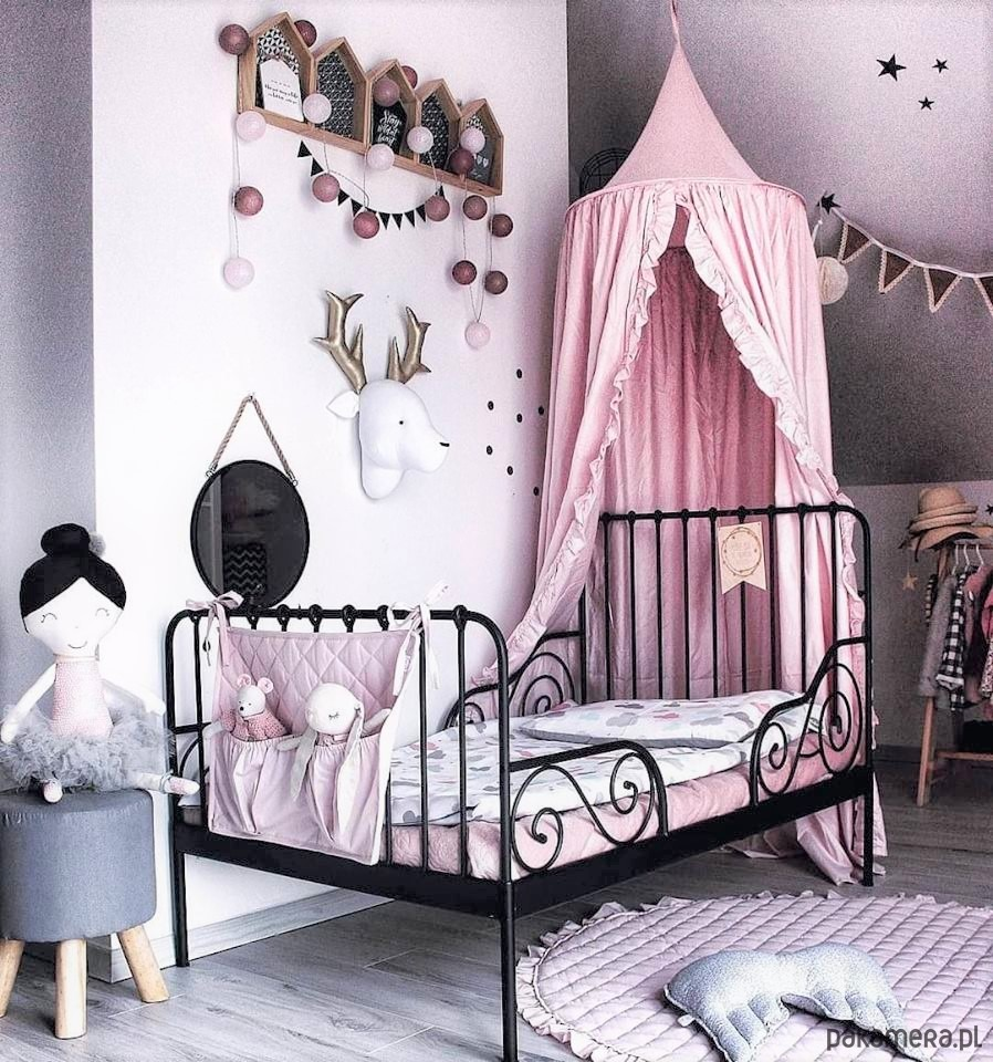 fffee0c66310b1 Baldachim z falbanką pudrowy róż - pokój dziecka - namioty, tipi ...