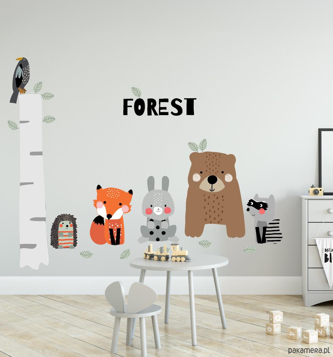Brzoza I Zwierzęta Las Liście I Zabawa Pokój Dziecka Naklejki