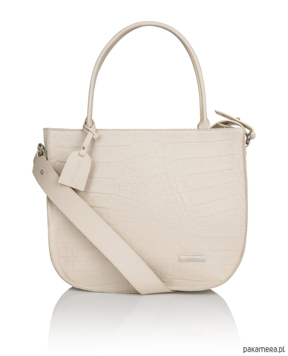 f56830f3ac243 torby na ramię - damskie-Skórzana beżowa torebka długi pasek tłoczenie