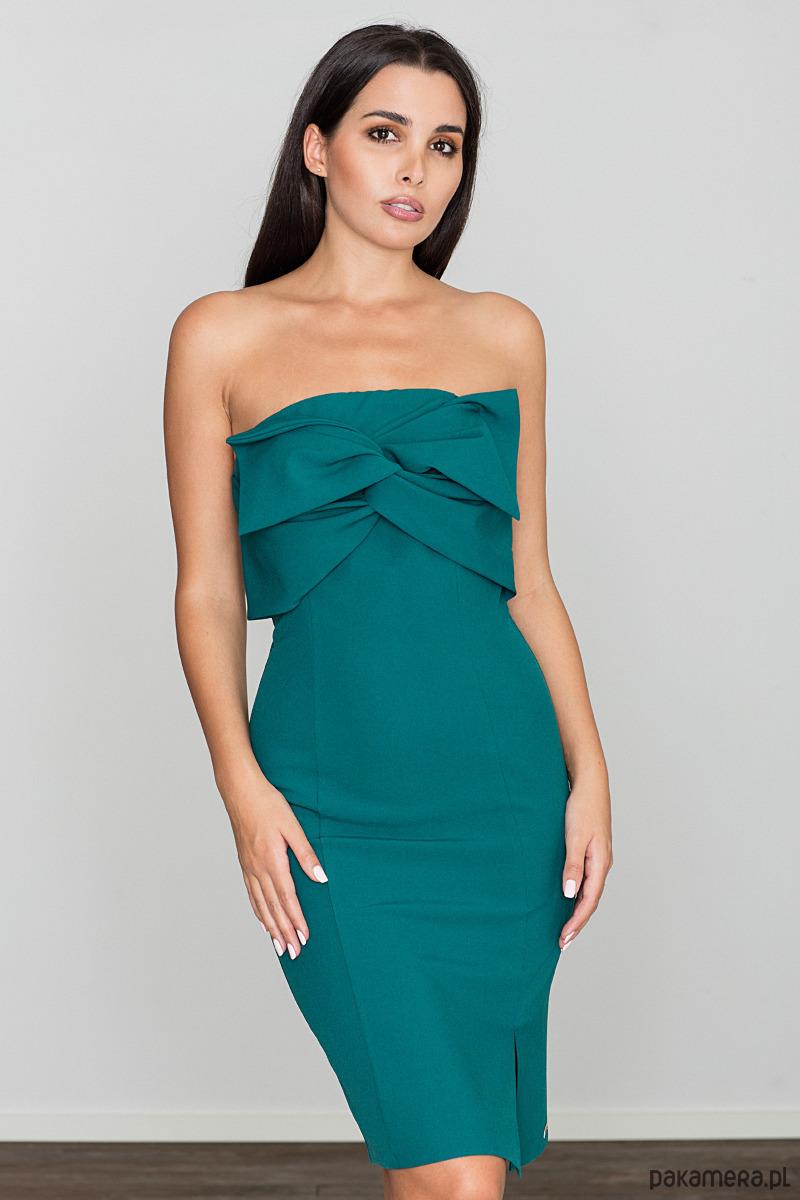 Sukienka dopasowana z odkrytymi ramionami m571 m